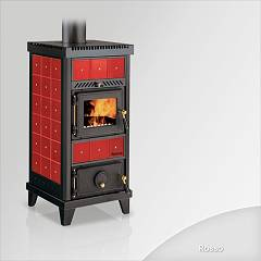 Focus NIDO 1 Wood stove hot air natural convection and 6 kw - red the ceramic coating