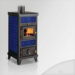 Focus NIDO 1 Wood stove hot air natural convection and 6 kw - blue the ceramic coating