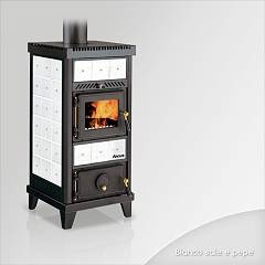 Focus NIDO 1 Wood stove hot air natural convection and 6 kw - white the ceramic coating