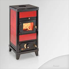 sale Focus Nido 1 Wood Stove Hot Air Natural Convection And 6 Kw - Red Tiled Coating