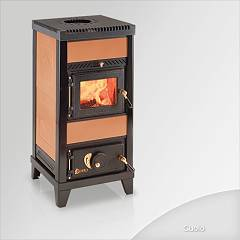Focus NIDO 1 Wood stove hot air natural convection and 6 kw - leather tiled coating