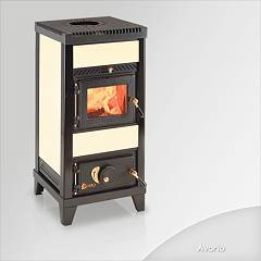 Focus NIDO 1 Wood stove hot air natural convection and 6 kw - ivory tiled coating