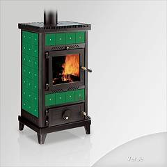 sale Focus Nido 2 Wood Stove Hot Air Natural Convection 8 Kw - Green The Ceramic Coating