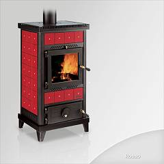 sale Focus Nido 2 Wood Stove Hot Air Natural Convection 8 Kw - Red The Ceramic Coating