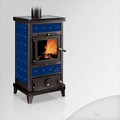 Focus Nido 2 Holzherd hot air natural convection 8 kw - blaue keramikbeschichtung
