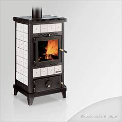 Focus NIDO 2 Wood stove hot air natural convection 8 kw - white the ceramic coating