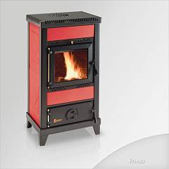 sale Focus Nido 2 Wood Stove Hot Air Natural Convection 8 Kw - Red Tiled Coating