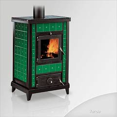 Focus NIDO 3 Wood stove hot air natural convection 10 kw - green the ceramic coating