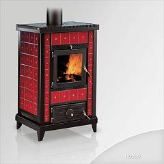Focus Nido 3 Wood stove hot air natural convection 10 kw - red ceramic coating