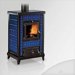 Focus Nido 3 Wood stove hot air natural convection 10 kw - blue ceramic coating