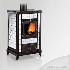 Focus NIDO 3 Wood stove hot air natural convection 10 kw - white the ceramic coating
