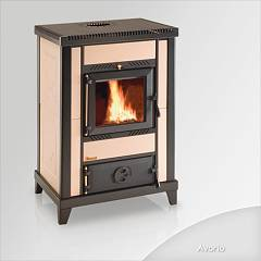 Focus NIDO 3 Wood stove hot air natural convection 10 kw - ivory tiled coating