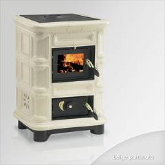 Focus PERLA Wood stove hot air natural convection 8 kw - beige tiled coating