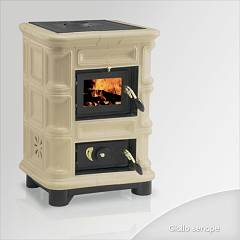 Focus Perla Wood stove hot air natural convection 8 kw - yellow senape majolica coating