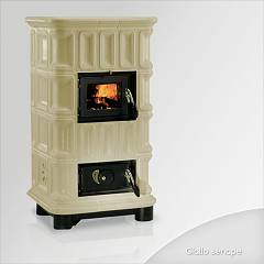sale Focus Giada Wood Stove Hot Air Natural Convection 10 Kw) - Mustard Yellow Tiled Coating