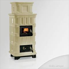 Focus GIADA Wood stove hot air natural convection 10 kw) - mustard yellow tiled coating