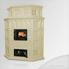Focus Giada Stove wood hot air convection natural 10 kw - yellow senape majolica coating