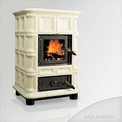 Focus AMBRA Wood stove hot air natural convection 12 kw - beige tiled coating