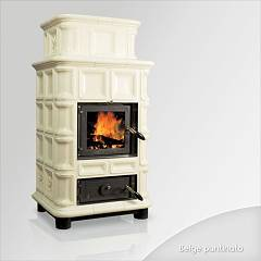 Focus Ambra Wood stove hot air natural convection 12 kw - beige majolica coating