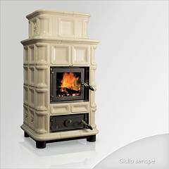 sale Focus Ambra Wood Stove Hot Air Natural Convection 12 Kw - Mustard Yellow Tiled Coating