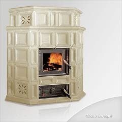 Focus AMBRA Wood stove hot air natural convection 12 kw - mustard yellow tiled coating