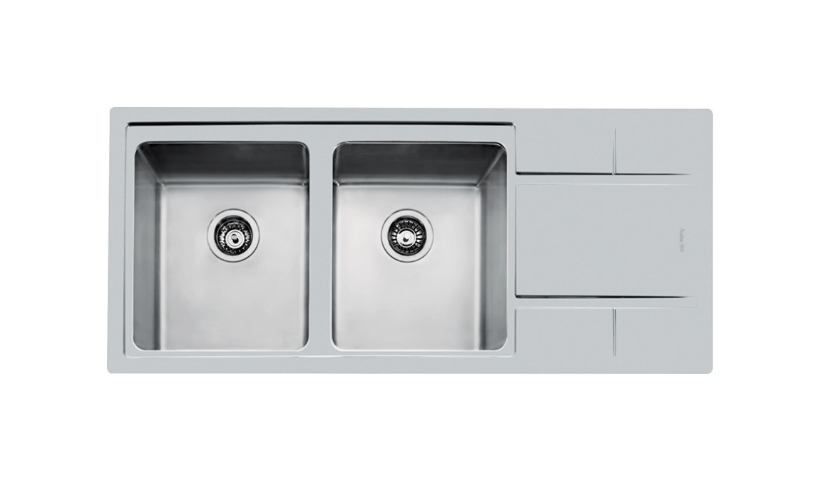 Photos 1: Foster 4312 052 S4000 Built-in sink cm. 116 - brushed steel 2 tanks on the left