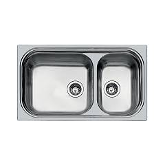 Foster 1072 062 Semi-flush built-in sink cm. 87 - brushed steel with large basin on the left Big Bowl
