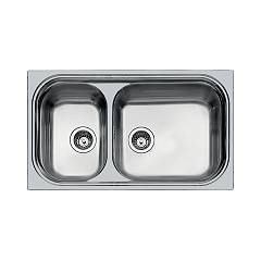 Foster 1072 061 Semi-flush built-in sink cm. 87 - brushed steel with large tub on the right Big Bowl