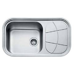 Foster 1661 202 Standard recessed sink 860 x 500 - brushed steel 1 lh bottle - roof drawn Big Bowl Soft