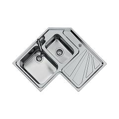 Foster 3308 060 Built-in sink cm. 83 - brushed steel 1 bowl and a half on the left Angolare