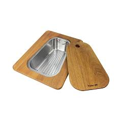 Foster 8644 042 Iroko wooden chopping board with stainless steel colander tray Taglieri In Legno