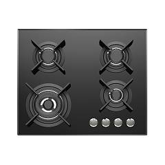 Foster 7038 632 Gas hob 60 cm - flush / semi-flush - black glass ceramic Ceramik