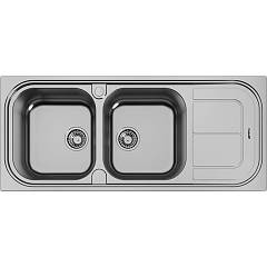 Foster 1284 002 Built-in sink cm. 116 - brushed steel 2 left tanks + right dropper Moon