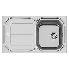 Foster 1281 001 Built-in sink cm. 86 - brushed steel 1 right tank + left dropped Moon