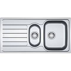 Franke Skx 651 Sink two bowls cm 100 x 50 in brushed stainless steel - left drainer 101.0263.904 Spark