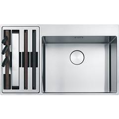 Franke Bwx 220-54-27 Sink 2 semi-flush / filotop bowls 86 x 51 - stainless steel - left accessory compartment Box Center