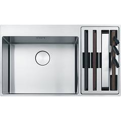 Franke Bwx 220-54-27 Sink 2 semi-flush / filotop bowls 86 x 51 - stainless steel - right accessory compartment Box Center