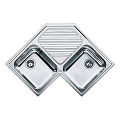 Franke Pnx 621-e Corner sink 2 bowls 83 x 83 x 50 with central drainer - satin stainless steel Angolo