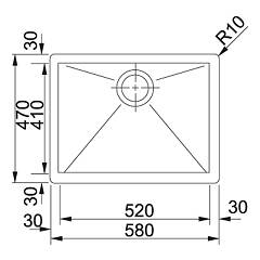 Franke semifilo / filotop sink PPX 210-58 - technical drawing