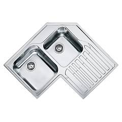 Franke Stx 621-e Corner sink 2 bowls 83 x 83 x 50 with right drip - stainless steel Angolo