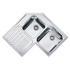 Franke Stx 621-e Corner sink 2 bowls 83 x 83 x 50 with left drip - stainless steel Angolo