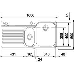 Franke built-in sink AML 651 - technical drawing