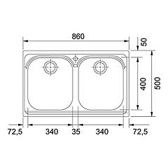 Franke built-in sink AMT 620 - technical drawing