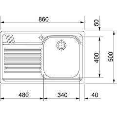 Franke built-in sink AMX 611 - technical drawing