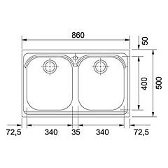Franke built-in sink AMX 620 - technical drawing