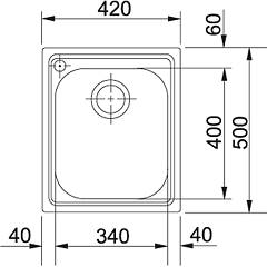Franke built-in sink AMX 610 - technical drawing