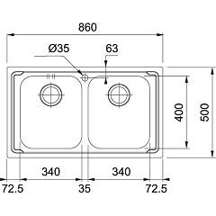 Franke built-in sink LLL 620-L - technical drawing