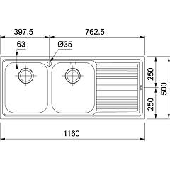 Franke built-in sink LLL 621 - technical drawing