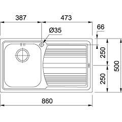 Franke built-in sink LLX 611-L - technical drawing