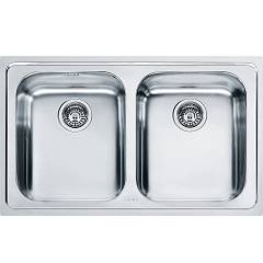 Franke Llx 620 79 x 50 built-in sink 2 bowls - stainless steel Logica Line